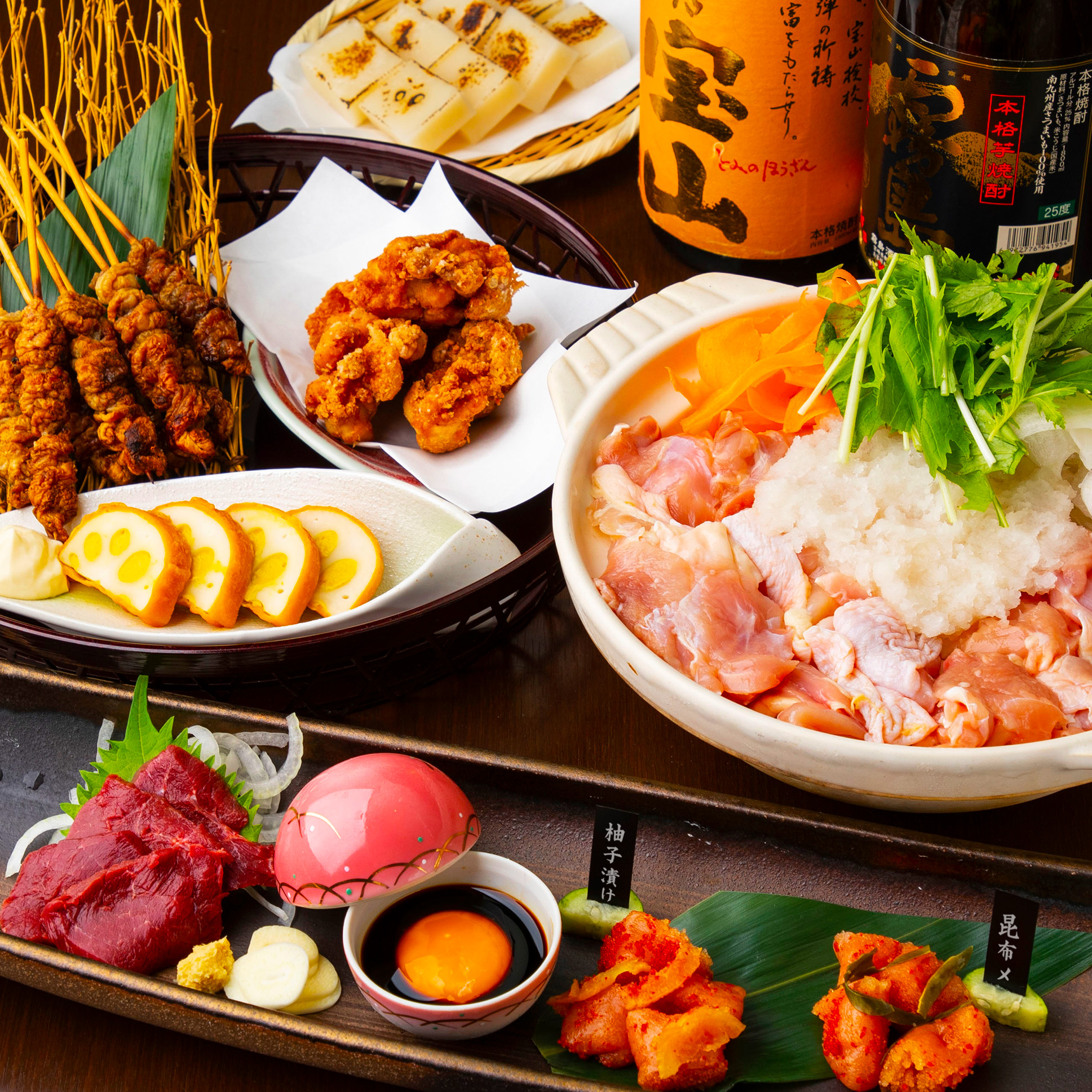 [2時間飲み放題] 馬/かわ串/鍋焼き3500コース7品