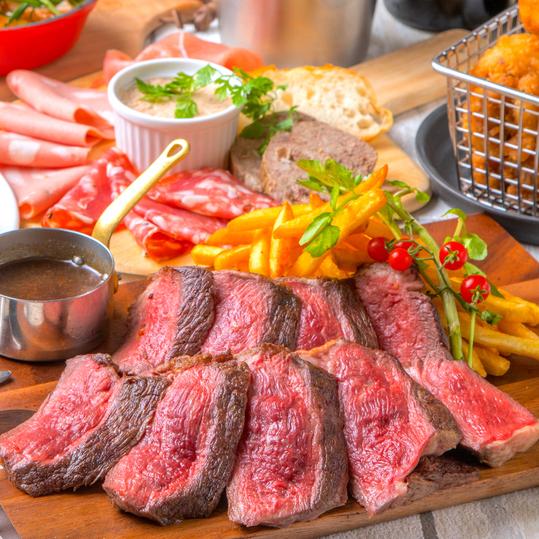 [2.5時間飲み放題2.5時間] 肉づくし!牛ステーキ×肉前菜9品