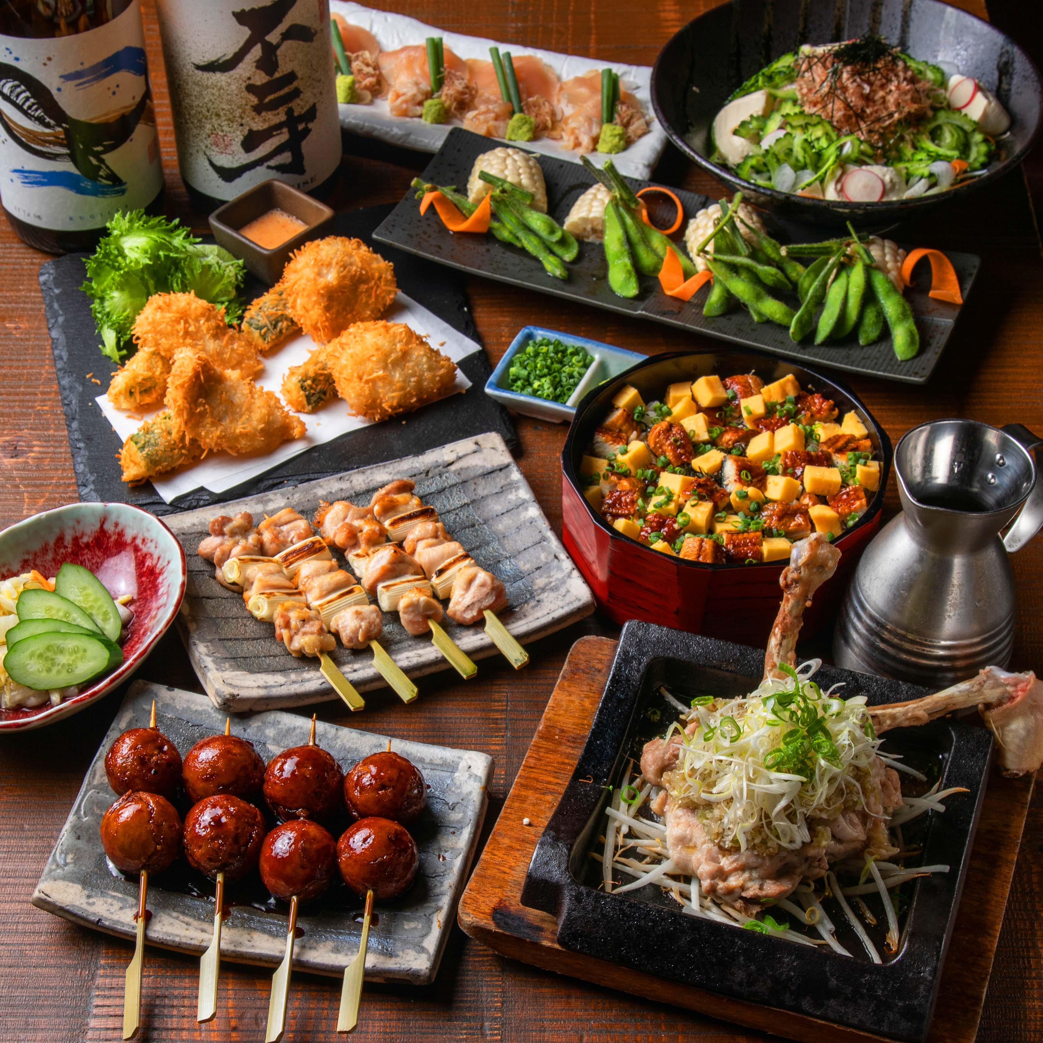 [お料理のみ] 【お食事に】筑波鶏もも肉一枚スパイシー焼きと炭火焼き鳥など9品