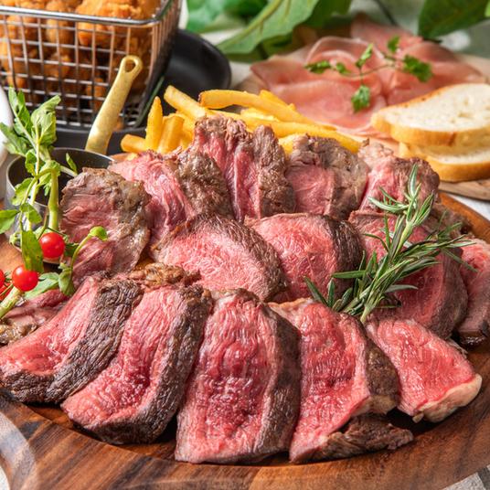 [2.5時間飲み放題2.5時間] 1番人気!ステーキ食べ比べ!9品