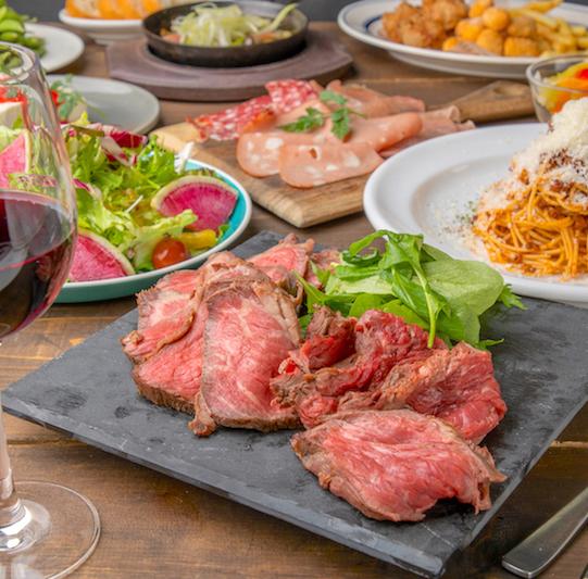[2.5時間飲み放題2.5時間] 肉前菜×ステーキ2種×パスタ!10品