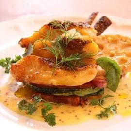 鯛と根菜のソテー 粒マスタードソース
